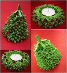 Quilled tree and candle hold