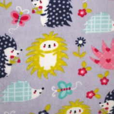 Anti- Pill Fleece Fabric- Hedgehogs On Purple, , hi-res