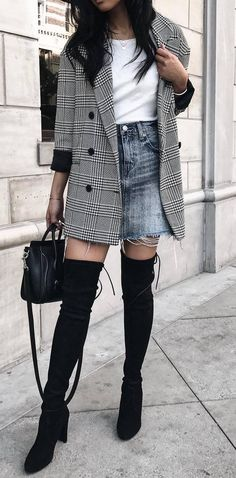 what to wear with over knee boots : long blazer + t-shirt + denim skirt + bag