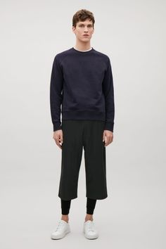 COS image 1 of Wool-blend shorts in Black