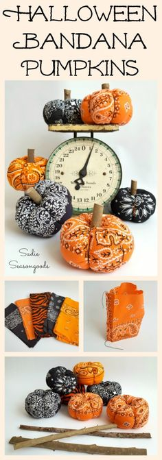 Repurpose and Upcycle a vintage orange or black bandana into a low sew easy to make DIY fabric pumpkin for Halloween by Sadie Seasongoods / www.sadieseasongo… - Bandana Pumpkins / Fabric Pumpkins for Country Halloween Decor Country Halloween, Fröhliches Halloween, Halloween Pumpkins, Halloween Decorations, Autumn Decorations, Decoration Crafts, Women Halloween, Halloween Photos, House Decorations