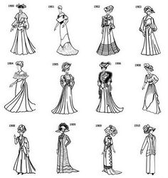 Silhouettes that span the Edwardian era-- Excellent! Something to keep my head straight!