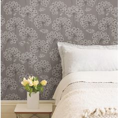 NuWallpaper Peel and Stick ft Grey Vinyl Floral Self-Adhesive Peel and Stick Wallpaper at Lowe's. Modern florals adorn this chic peel and stick wallpaper that lets you enjoy the beauty of traditional wallpaper without all the time and commitment. Embossed Wallpaper, Grey Wallpaper, Wallpaper Panels, Vinyl Wallpaper, Wallpaper Roll, Peel And Stick Wallpaper, Wallpaper Designs, Wallpaper Online, Bedroom Decor