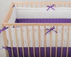 Crib bumper Purple White Polka Dot Baby cot bumper by CotandCot Cot Bumper Sets, Baby Cot Bumper, Baby Crib Bumpers, Baby Cribs, Cloud Pillow, Kids Decor, Home Decor, Nursery Bedding, Room