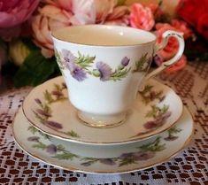 "PARAGON BONE CHINA TRIO ""Highland Queen"" CUP SAUCER TEA PLATE VINTAGE Trio"