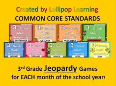 3rd grade Common Core Standards REVIEW! JEOPARDY GAMES for ALL 9 months of school! Get the bundle of 9 for $3 or individual games for $1