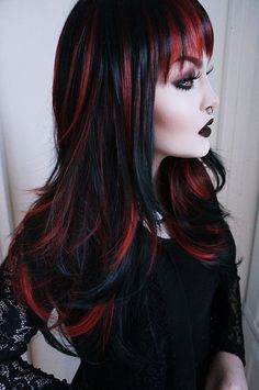 Wig Gemma cosplay fantasy long bangs black red by WickedWigsShop Red Hair Streaks, Black Hair With Red Highlights, Red Hair Color, Hair Highlights, Red Black Hair, Chunky Highlights, Caramel Highlights, Color Highlights, Gothic Hairstyles