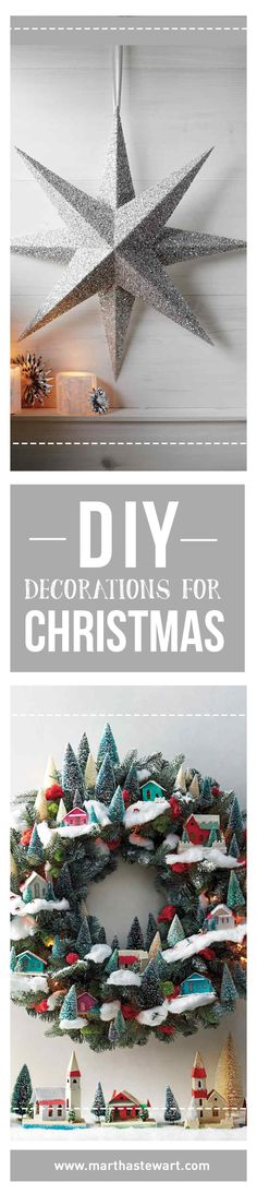 DIY Decorations for Christmas | Martha Stewart Living - Repeat after us: No more trips to the mall. There's no need to venture out into the cold and elbow your way through shopping crowds when you can cozy up at home (hot chocolate optional) and make your own embellishments. Fill your home with festive garlands, glittering ornaments, twinkling lights, and evergreen galore.