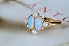 Victorian Revival Opal Pearl Engagement Ring Vintage Opal
