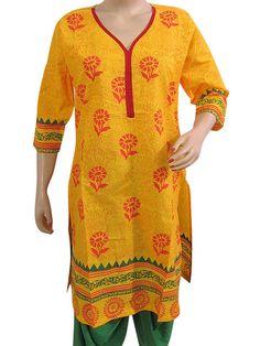 Indian Kurti Yellow Printed Cotton Kurta $28.99