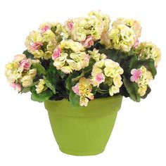 Faux pink and yellow geraniums in a weathered green pot.  Product: Faux floral arrangementConstruction Material: