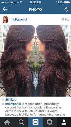 Chocolate brown with violet balayage #beautybymolly #balayage #violethair
