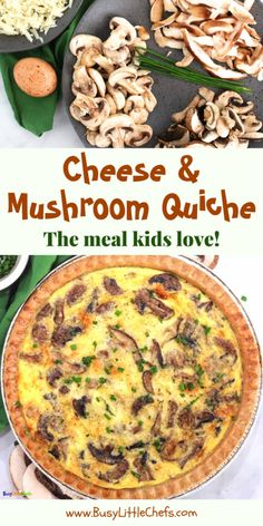 Mushroom quiche is one of our favorite family meals, and we eat this for breakfast, lunch, or dinner. This easy recipe is made with a buttery crust, assorted mushrooms, fresh eggs, and Gruyere cheese. #mushroomquiche #quiche #baking #brunch #bestbrunchrecipes #busylittlechefs