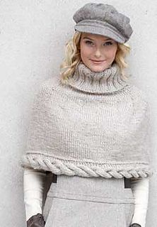 Simple capelet with a bold cable detail. Shown in Classic Wool Roving. (Patons Yarns)