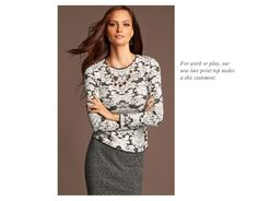 I like this printed sweater, fall look - ANN TAYLOR'S TOP TEN MUST-HAVE LOOKS #10