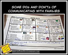 Dos and Don'ts of Communicating with Families by Autism Classroom News at http://www.autismclassroomnews.com