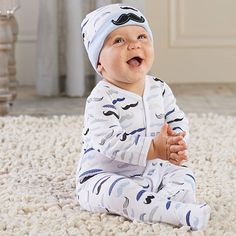 Your little man will look adorable in these mustache printed pajamas! The coordinating cap is too cute.