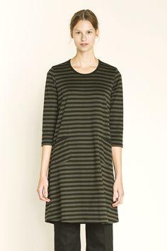 Print: Tasaraita by Annika Rimala cotton jersey knit.Description: A-line dress with two front patch . Green Dress, Dress Black, Marimekko, Tunic Tops, Brown, Cotton, Pink, Collection, Dresses