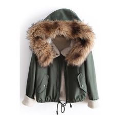 SheIn(sheinside) Green Fur Hooded Long Sleeve Quilted Drawstring Coat (155 RON) ❤ liked on Polyvore featuring outerwear, coats, green, quilted coat, quilted parka, green parka, hooded parka coat and parka coats