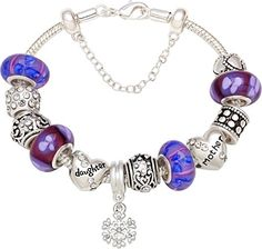 """SALE PRICE $38.95 - """"The Love Between Mother And Daughter is Forever"""" Purple Flower Silver-tone Bead Charm Bracelet"""
