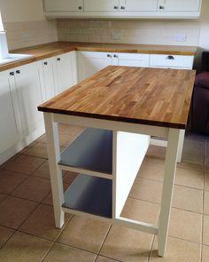 Fully assembled and oiled.... My Stenstorp Kitchen Island! Yey! #ikea #ikeakitchen #stenstorp #stenstorpkitchenisland #creamkitchen #diy #kitchen #home #house #woodenworktop #solidoak #butchersblock #breakfastbar #kitchenpics