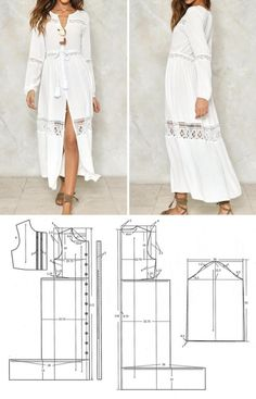 "White Cotton comfy ""beach"" maxi dress with gauzy lace Diy Dress, Dress Outfits, Dress Lace, Maxi Dresses, Sewing Clothes, Diy Clothes, Fashion Clothes, Clothing Patterns, Sewing Patterns"