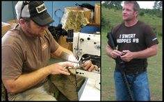 Owner Tom Fuller at work sewing AG products...proudly made in USA!