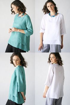 Product Image: Havanna Top in Chalet House of Comfort: Chalet Linen 2015 Flax Clothing, White Shirts, Shirt Blouses, Tunic Tops, Sewing, My Style, Womens Fashion, House, Inspiration