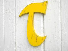 Wooden Wall Decoration Sign Yellow Personalized Distressed Letter T Shabby chic Rustic Cabin Home decor