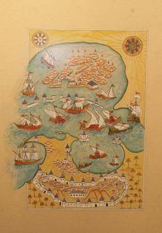 1 Tile Art, Vintage World Maps, Miniatures, Istanbul, Art Tiles, Minis