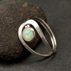 {FAVORITE!!}Opal Ring- Silver Opal Ring- Gemstone Ring- Sterling Silver Stone Ri...