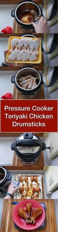 Pressure Cooker Teriyaki Drumsticks: Chicken wing style Teriyaki drumsticks from the pressure cooker...with help from the broiler. #recipe #pressurecooker via @DadCooksDinner