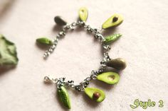 Avocado charm Bracelet miniature food jewelry by TheJewelSaga
