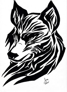 Tribal Wolf Drawing