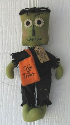 FTFD 3  Prim Frankie Halloween Frankenstein  - Primitive Rag Doll e-pattern