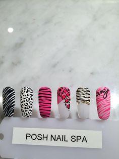 nails designs, posh nail spa Tiger Nails, Leopard Nails, Zebra Nails, 3d Nails, Acrylic Nails Coffin Pink, Simple Acrylic Nails, Nail Art Hacks, Gel Nail Art, Posh Nail Spa