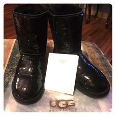 Sequins ugh boots authentic Worn in apt once as seen on soles no sequins  missing don't low ball me they do not come with original box they have paper work and plastic bags they came with black on color size 6 NO TRADES!! Price firm!!! UGG Shoes Winter & Rain Boots