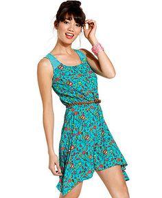 Hello Kitty Dress, Sleeveless Printed Asymmetrical - Juniors Dresses - Macy's
