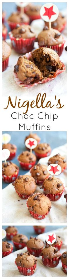Nigella Lawson's chocolate chocolate chip muffins. Loaded with chocolate, these muffins are decadent and a perfect way to wake up to breakfast | http://rasamalaysia.com