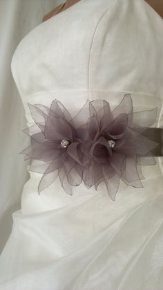 Handcraft Grey Lotus Bridal Wedding Dress Sash Belt by elitewomen, $39.50