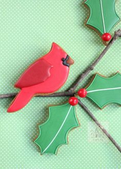 So pretty! Cardinal cookie tutorial by sweetopia