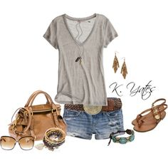 Summer, created by kari-yates. Cute Summer Outfits, Casual Outfits, Cute Outfits, Summer Clothes, Fashion Outfits, Casual Summer, Simple Outfits, Fashion Styles, Fashion Trends
