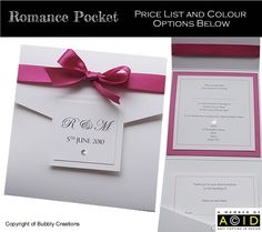 Pocket wedding invitation with a monogram front. Shown in fuchsia pink