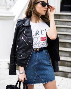 Printed tee & denim combo / Street Style - Chelcie Nicole M