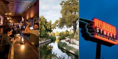 Photo Credit: Photographs by Buff Strickland. From left: A bartender shakes things up at the Esquire; a stroll on the River Walk; Southtown's Alamo Street Eat Bar.