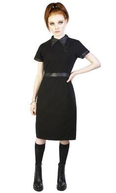 Temple dress #disturbiaclothing disturbia midi dress false leather collar cresent moon embroidery all black alternative goth occult witch