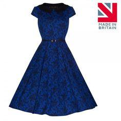 'Isadora' Blue Rose Lace Print Swing Dress
