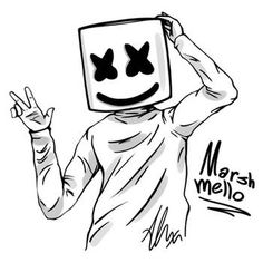Marshmello by HappyWasabii on DeviantArt Hipster Drawings, Art Drawings Sketches Simple, Pencil Art Drawings, Easy Drawings, Joker Kunst, Graffiti Wallpaper Iphone, Animal Wallpaper, Coloring Pages, Coloring Books