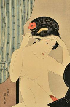 Utagawa Kunisada (1786-1865) A Woman Grooming, Woo