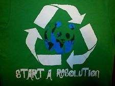 WWF WORLD WILDLIFE FUND T SHIRT Recycle PANDA Bear START A RESOLUTION Revolution